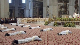 Priests Prostrate to Pope